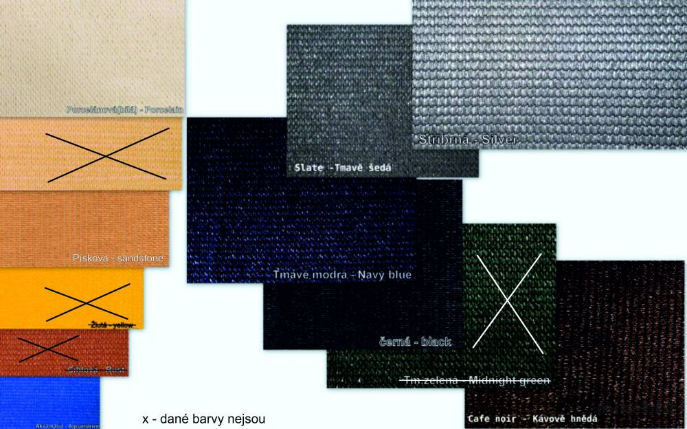 Stínící sítě 230g/m² - vzorník dostupných barev