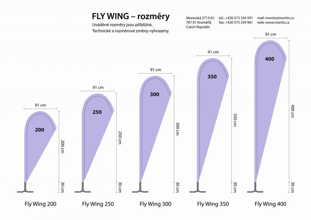 Fly wings velikosti